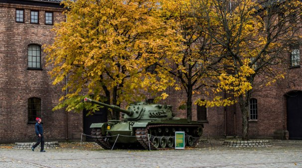 A tank outside Forsvarsmuseet (Defence Museum).